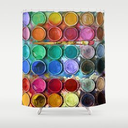 watercolor palette Digital painting Shower Curtain