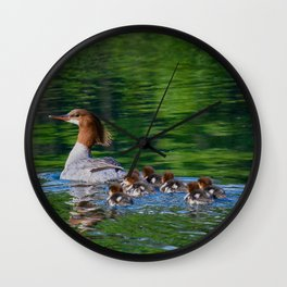 Merganser Duck Family Wall Clock
