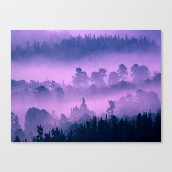 Blue forest in a pink fog Canvas Print