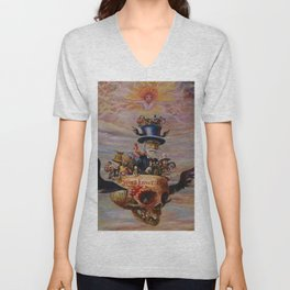 Death & Heaven (Existential Crisis) symbolism landscape painting by James Ensor Unisex V-Neck