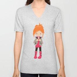Fashion Girl, Orange Hair, Brown Leggings, Boots Unisex V-Neck
