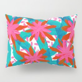 Electric Pink Flowers Pillow Sham