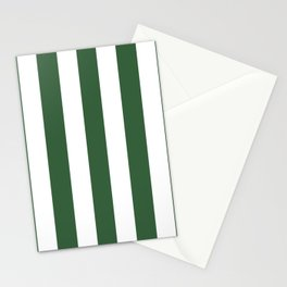 Hunter green - solid color - white vertical lines pattern Stationery Cards