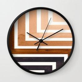 Raw Umber Circle Round Framed Mid Century Modern Aztec Geometric Pattern Maze Wall Clock