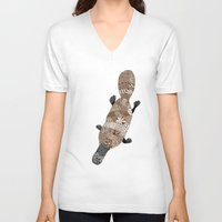 platypus V-neck T-shirts featuring Platypus by K J Guindon