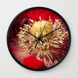 Red Papaver Somniferum Poppy II Wall Clock