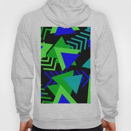 Abstract Triangles in Lime, Blue and Black Hoody