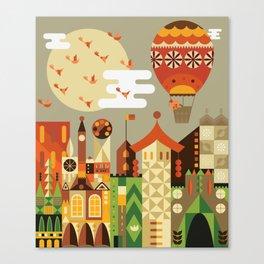 Hot air balloon ride trough the city Canvas Print