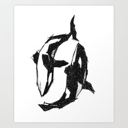 Orca Yin Yang Art Print