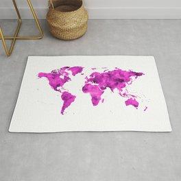 World Map Magenta Planet Rug