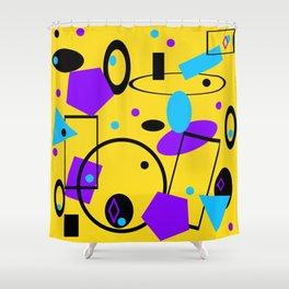 Retro abstract geometric print yellow Shower Curtain
