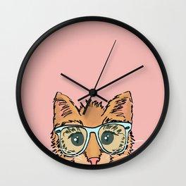 Orange Kitty Cat II Wall Clock