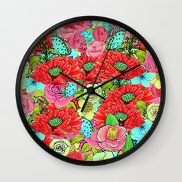 Poppy Floral Greenery Watercolor for SS17 Wall Clock