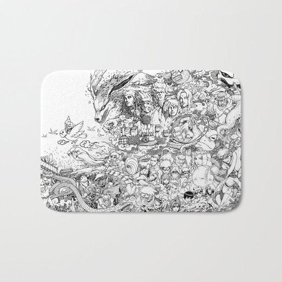 Naruto characters doodle Bath Mat