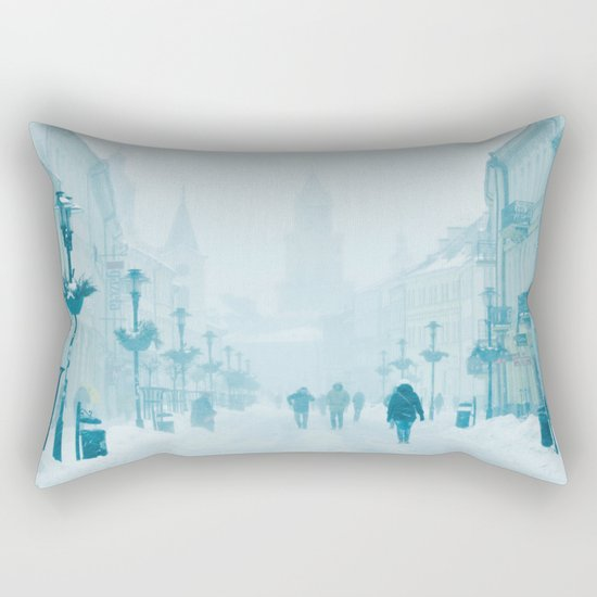 Foggy and snowy day Rectangular Pillow