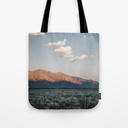 Sierra Mountains with Harvest Moon Tote Bag