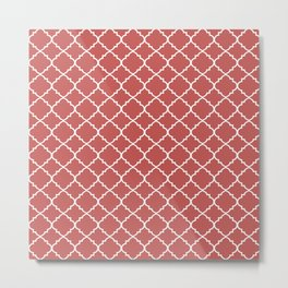 Rose Moroccan Quatrefoil Metal Print