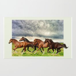 Horses in the Field Rug
