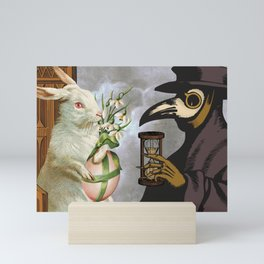 Plague Doctor, White Rabbit, and the Sands of Time Mini Art Print