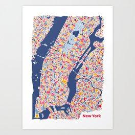 New York City Map Poster Art Print