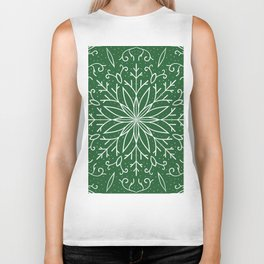 Single Snowflake - green Biker Tank