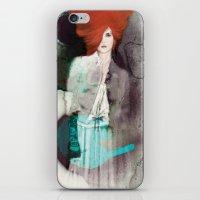 fashion illustration iPhone & iPod Skins featuring FASHION ILLUSTRATION 11 by Justyna Kucharska