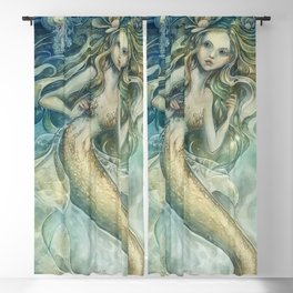 mermaid with Flowers in her hair Blackout Curtain