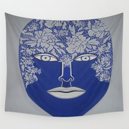 Woman's Visage blue face Wall Tapestry