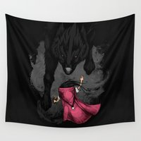 bad wolf Wall Tapestries featuring Big Bad Wolf by Steven Toang