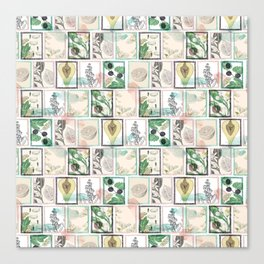 Botanical vintage stamps Canvas Print