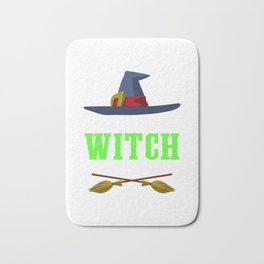 Resting Witch Face Broomstick Hat Spooky Halloween Bath Mat