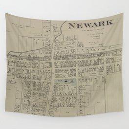 Vintage Map of Newark NY (1874) Wall Tapestry