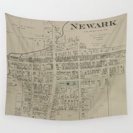 Vintage Map of Newark NY (1874) Wall Tapestry