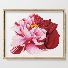 Bi-Color Peony Flower Watercolor Illustration Serving Tray