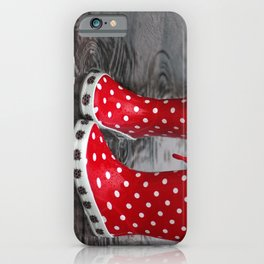 Red boots rainy season iPhone Case