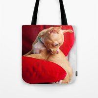 chihuahua Tote Bags featuring Chihuahua by Luca Spanu