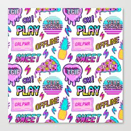 Colorful seamless pattern with patches: pineapples, pizza slices, hearts, etc Canvas Print