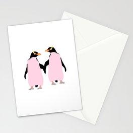 Gay Pride Lesbian Penguins Holding Hands Stationery Cards