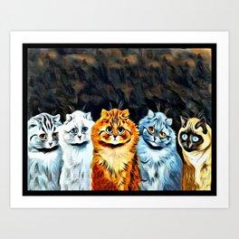 "Louis Wain's Cats ""Five Cats"" Art Print"