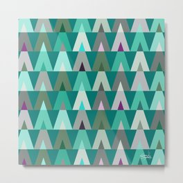 Geometric Triangles | teal turquoise Metal Print