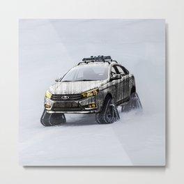 Lada Vesta on track Metal Print