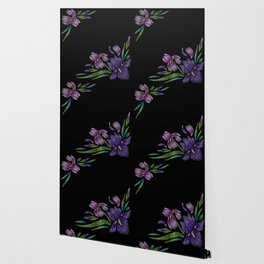 Embroidered Flowers on Black Corner 03 Wallpaper