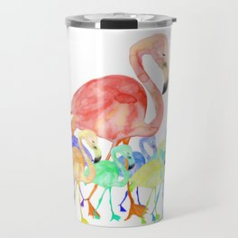 Family of Flamingos Watercolor Travel Mug