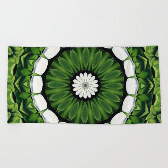 Tropical Green and White Floral Mandala Beach Towel