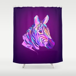 Neon Zebra Shower Curtain