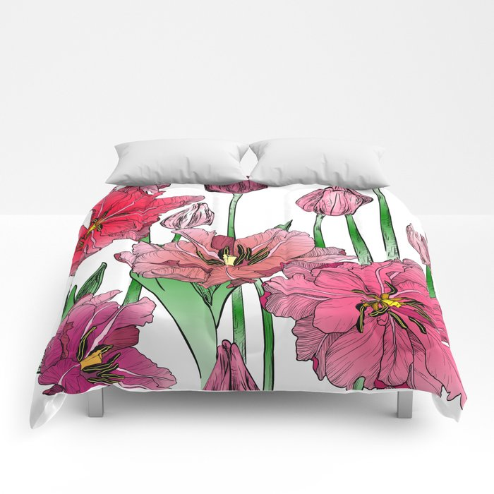 Pink Hibiscus Pattern Comforters