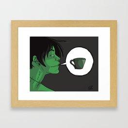 Caffeinated Zombie Framed Art Print