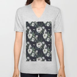 Hand painted white mauve green dark gray watercolor flowers Unisex V-Neck