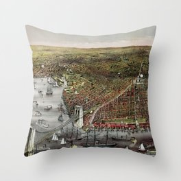 Vintage 19th Century Currier & Ives Brooklyn Lithograph Wall Art in color Throw Pillow