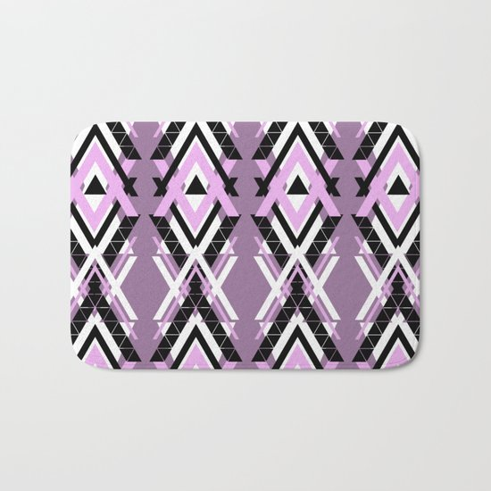 Geometric Columns - Pastel Purple Triangles Pattern Bath Mat